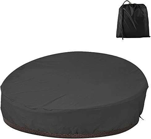 Bullstar Patio Round Daybed Cover 90 Inch Outdoor Garden Furniture Cover Heavy Duty Oxford Fabric Day Bed Sofa Cover Waterproof Uv Weather Resistant Furniture Decor