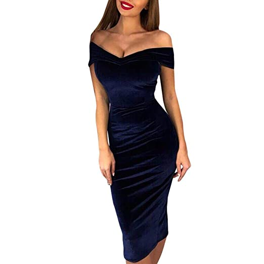 eafc676de113 Toimothcn Womens Velvet Off Shoulder Split Bodycon Dress Maxi Cocktail  Party Long Midi Dresses(Blue