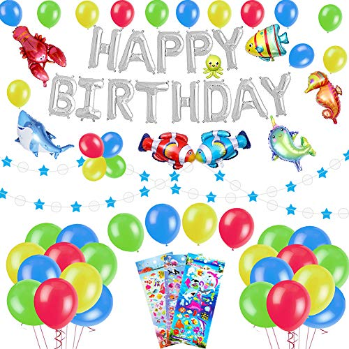 (53 PACK Sea World Birthday Party Decorations for Kids - Foil Balloons Happy Birthday Banner, Colorful Balloons, Sea Animals Balloons, Blue Star Garland, Cute Cartoon Puffy Stickers | Aster Birthday)
