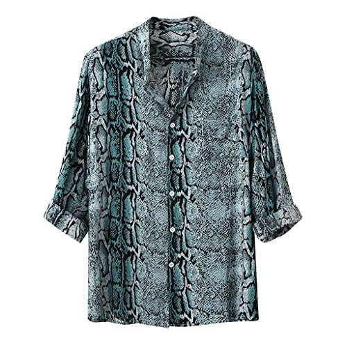 Mens Henry Shirts Beautyfine Summer Stand Collar Print Short Sleeve Shirt Top ()