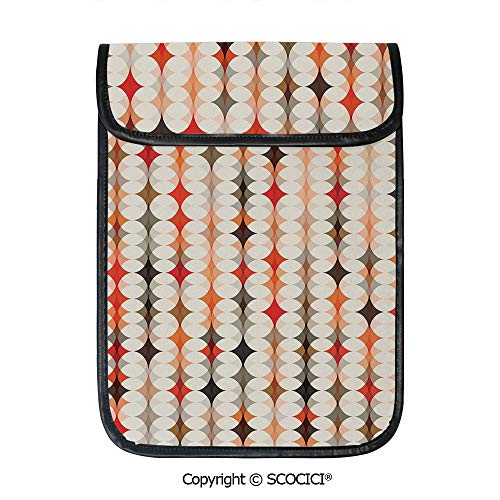 SCOCICI iPad Pro 12.9 Inch Sleeve Tablet Protective Bag Vintage Oval Pattern with Radiant Tone Effects Mosaic Illustration Custom Tablet Sleeve Bag - Baker Oval Model