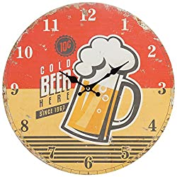 Lily's Home Retro Style 1960s Vintage Inspired Man Cave Beer Wall Clock, Fits Well in Man Cave, Den or Game Room, Battery-Powered with Quartz Movement, Ideal Gift for Beer Lover (13 Diameter)
