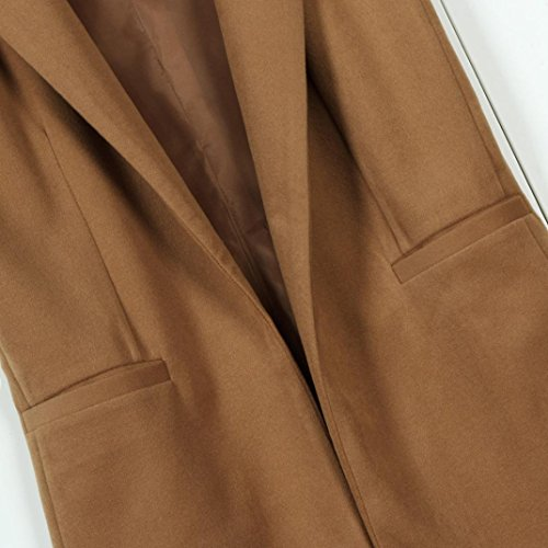 Gilet Parka Gilet Cappotto maniche Fami Cardigan solido Outwear da Gilet Marrone donna senza gilet AFfv8q0F