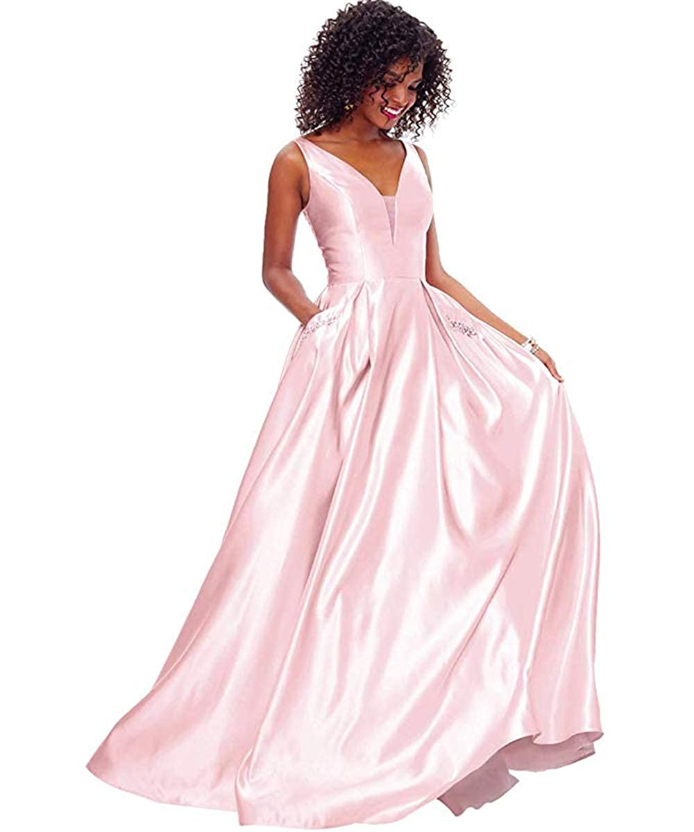 01pink PROMNOVAS Women's V Neck Backless Beaded Satin Prom Dress Long Formal Evening Gown with Pockets