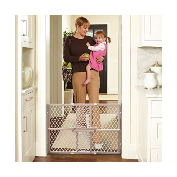 North States 42″ Wide Diamond Mesh Baby Gate: Installs in seconds without damaging walls. Pressure mount. Fits 26.5″- 42″ wide (23″ tall, Sustainable Hardwood)