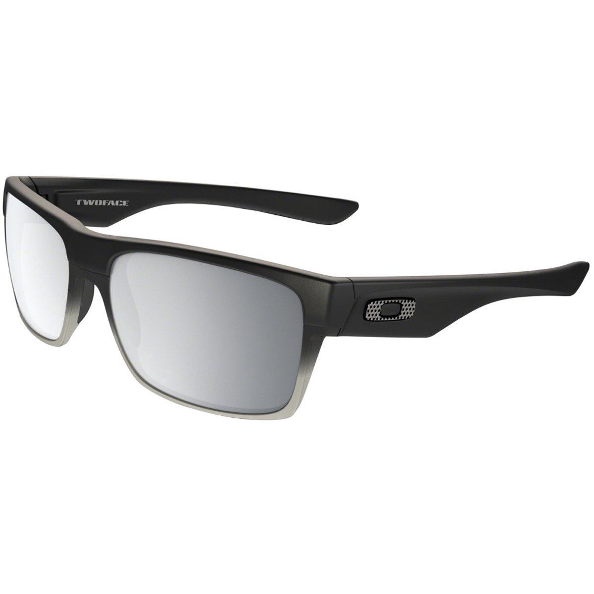 Oakley Men's Twoface Non-Polarized Iridium Square Sunglasses, Matte Black w/Chrome Iridium, 60 mm
