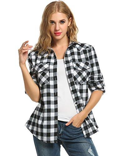 Women's Plaid Flannel Shirt, Roll Up Long Sleeve Checkered Cotton Shirt (Medium, - Checkered Shirt Flannel