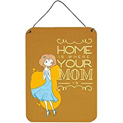 "Caroline's Treasures BB5414DS1216 Home is Where Mom is Metal Print, 16 H x 12 W"", Multicolor"