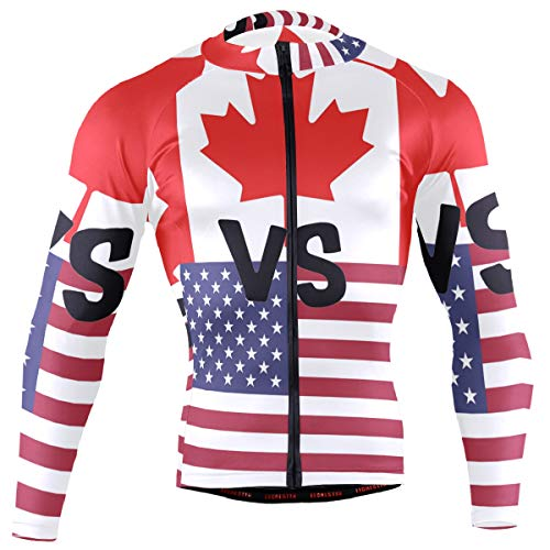 DERLONKAJE Canadian American Flag Men's Cycling Jersey Long Sleeve Breathable Biking Shirts Gear -
