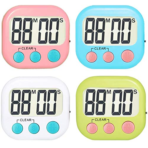 - 4 Pack Digital Kitchen Timer personal alarm Small Size Magnetic Back with Stand LCD Display (4 Colors)
