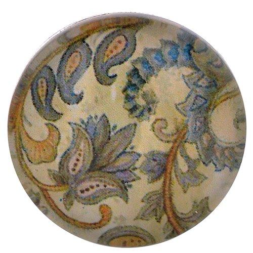 Morella click-button bouton pression en verre motif fleurs style rétro