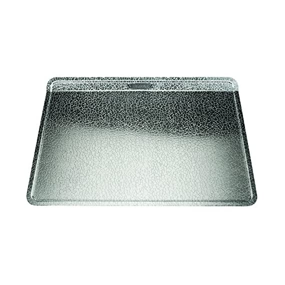 "Doughmakers biscuit sheet commercial grade aluminum bake pan 10"" x 14"" 1 commercial grade 18 gauge aluminum the choice of professional bakers, 10 x 14 x 0. 5 inch patented pebble pattern designed in terre haute, indiana, allows airflow under baked goods for more even browning and quick release healthy baking, doughmakers natural non-stick properties due to pebble pattern surface, eliminates the need for shortenings and other oils or sprays"