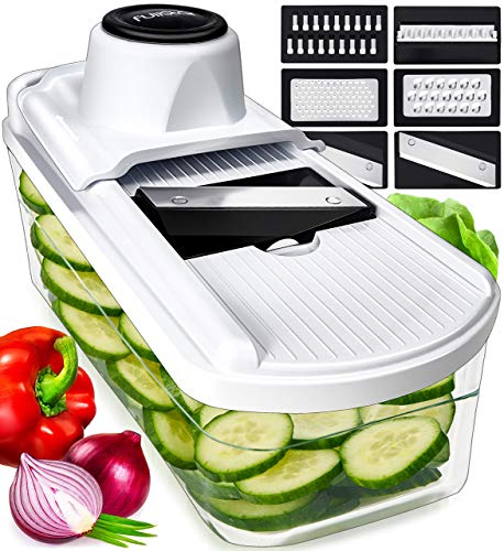 Fullstar Mandoline Slicer Vegetable Slicer and Vegetable Grater - Potato Slicer Food Slicer Veggie Slicers Mandoline Slicer Cutter Grater - Veggie Slicer Onion Slicer Fruit Slicers for Fruits