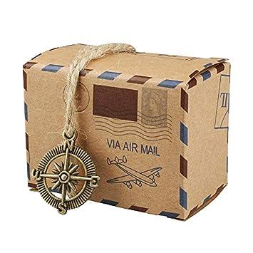 yueyang 50pcs Retro Post Mail Estilo rústico Candy Cajas de Regalo DIY Creative Papel Kraft Candy Box Wedding Party Favor: Amazon.es: Hogar