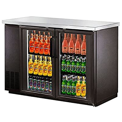 "UBB-24-48G 48"" Narrow Glass Door Back Bar Cooler with Stainless Steel Top and LED Lighting"