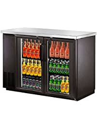 saba narrow glass door back bar cooler with stainless steel top and led lighting - Glass Door Mini Fridge