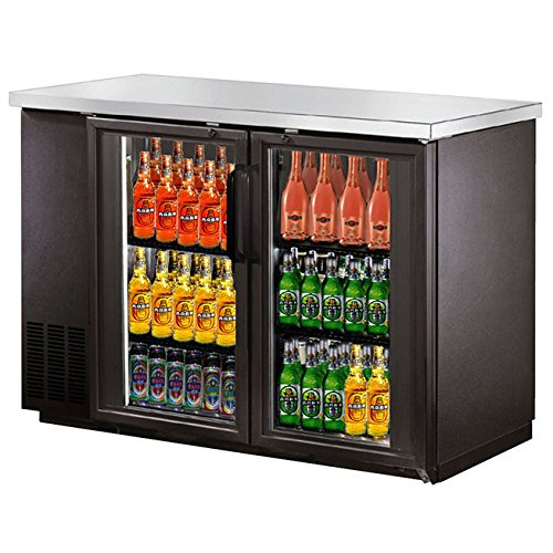 SABA Narrow Glass Door Back Bar Cooler with Stainless Steel Top and LED Lighting