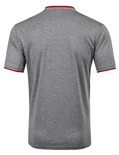 Zuckerfan Men's Polo Casual Slim Fit Short Sleeve Polo Shirts(Grey,L) by Zuckerfan (Image #3)
