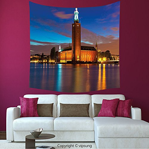 House Decor Square Tapestry-European Stockholm Scenic Night At City Hall Old Town Enchanted Town Sweden View Blue Cinnamon Mauve_Wall Hanging For Bedroom Living Room (Halloween Town City Hall)