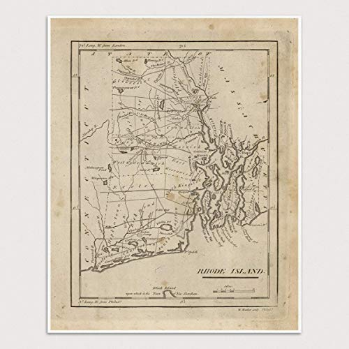 Connecticut Map - Old Rhode Island Map Art Print, 1816, Archival Reproduction, Unframed