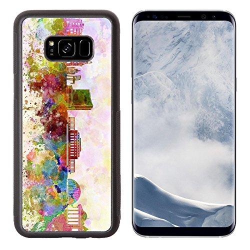 g Galaxy S8 Plus Aluminum Backplate Bumper Snap Case ID: 26708460 Geneva skyline in watercolor background (Switzerland Geneve Monument)