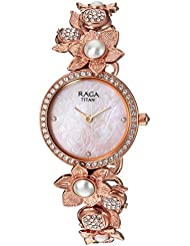 Titan Womens Raga Aurora Quartz Stainless Steel and Brass Casual Watch, Color Rose Gold-Toned (Model: 95043WM01)