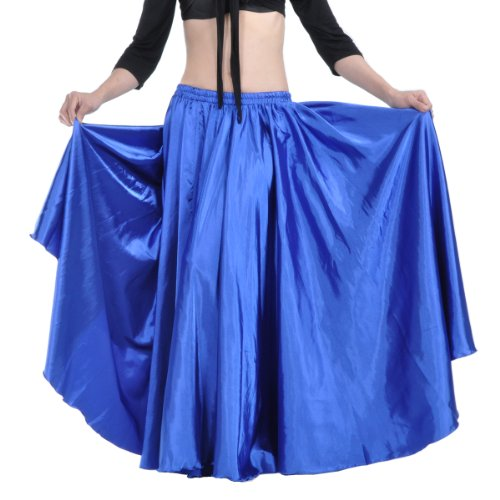 [2017 Ladies' Belly Dance Satin Skirt Midi Skirt Full Skirt Costumes-Dark Blue] (Viennese Waltz Costume)