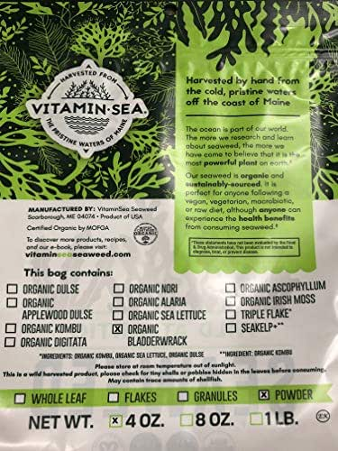 VitaminSea Organic Bladderwrack Powder Seaweed - 4 oz / 112 G Maine Coast - USDA & Vegan Certified - Kosher - For Keto or Dr. Sebi Diets - Sun Dried - Raw Wild Atlantic Ocean Sea Vegetables (BP4)