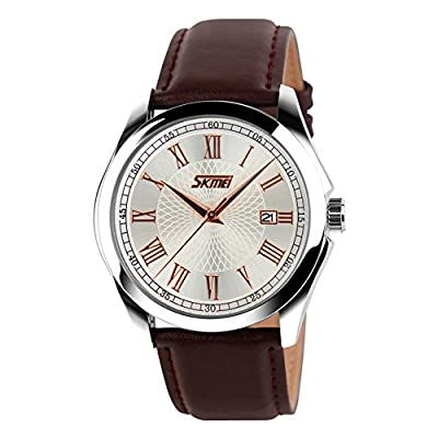 Mens Watch Unique Roman Numeral Analog Quartz 30M Water Resistant Business Casual Wrist Dress Code with Comfortable Leather Band Strap, Key Scratch Free Face and Classic Design Calendar Date Window