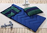 Sleeping Bag and Pillow Cover, Navy Green Stripe Indoor Outdoor Camping Youth Kids Boys
