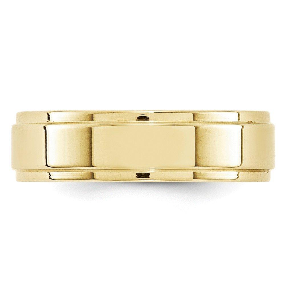 10K Yellow Gold Wedding Band Ring Standard Flat Solid Polished 6 mm 6mm Flat Step Edge B