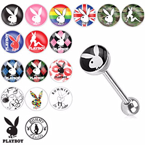 Playboy Bunny Logo Print Inlay Barbell Freedom Fashion 316L Surgical Steel Freedom - Rabbit Logo Belly Button