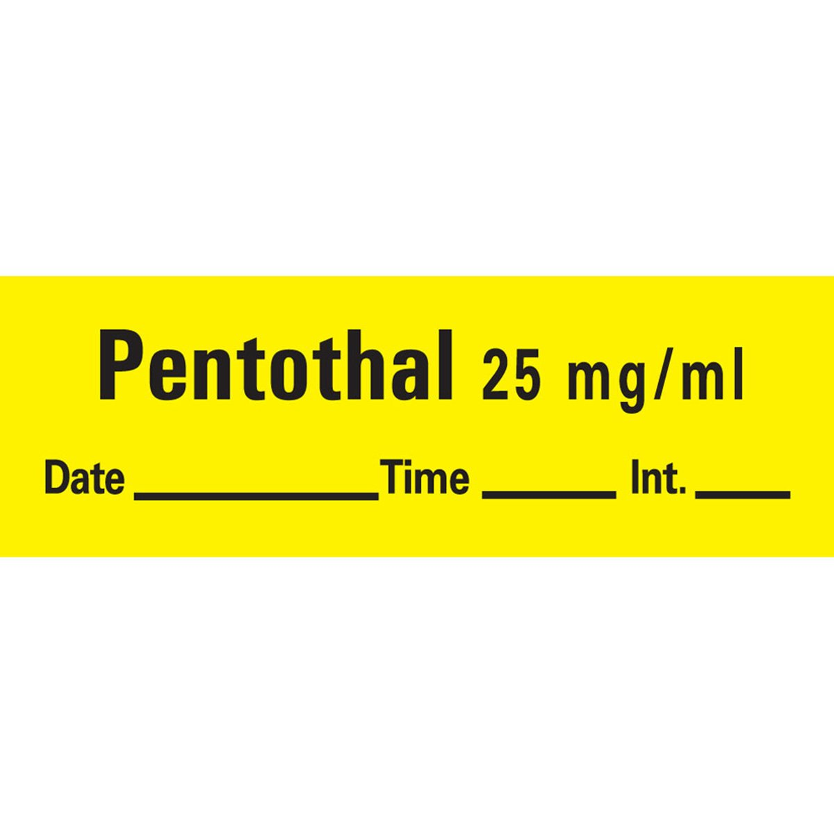 PDC Healthcare AN-79 Anesthesia Tape with Date, Time and Initial, Removable, Pentothal 25 mg/mL, 1'' Core, 1/2'' x 500'', Imprints Yellow 333 (Pack of 1)