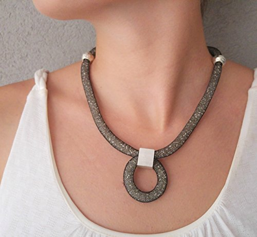 Bold Black ang Silver Mesh Necklace, Womens Pendant With Crystal Beads
