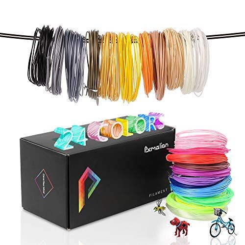 Pxmalion PLA 3D Pen Filament Refills, 780 Feet, 24 Colors, 1.75mm PLA Filament Pack, Includes Stencils eBook