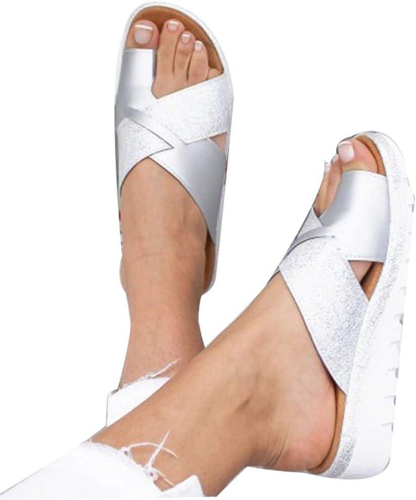 2020 New Women Sandal Shoes Zapatos De Viaje Verano Playa, Sandalias Correctoras Antideslizante Respirable Zapatos Ortopédicos, Hallux Valgus Ayuda Férula 43-Silver