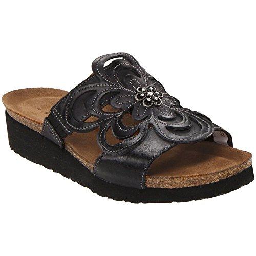 Naot Women's Sandy Wedge Sandal, Brushed Black Leather, 41 EU/9.5-10 M US