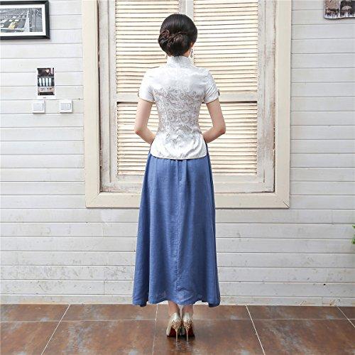 Shanghai Story Women Short Sleeve Chinese Blouse Cheongsam Top S White by Shanghai Story (Image #9)