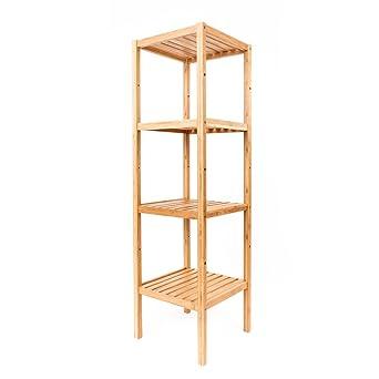 Estantería estrecha de bambú de 4 niveles para cocina, baño ...