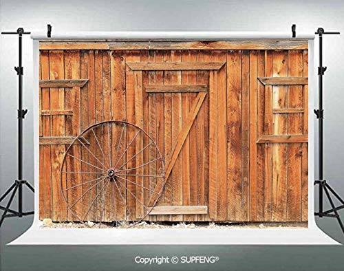 Photo Backdrop Ancient West Rural Town Rustic Weathered Wooden Wall Door Wagon Wheel in Front Image 3D Backdrops for Interior Decoration Photo Studio Props -