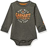 Carhartt Baby Boys Long Sleeve Bodyshirt, Dark Green, 6M