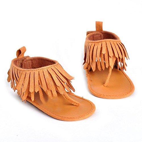 niñas Zapatos Switchali Bebé Infantil Niños Chicas Suela blanda Cuna Niñito Recién nacido Borlas princesa Sandalias Zapatillas de deporte del niño del ocasionales zapato 0~12 meses MarróN