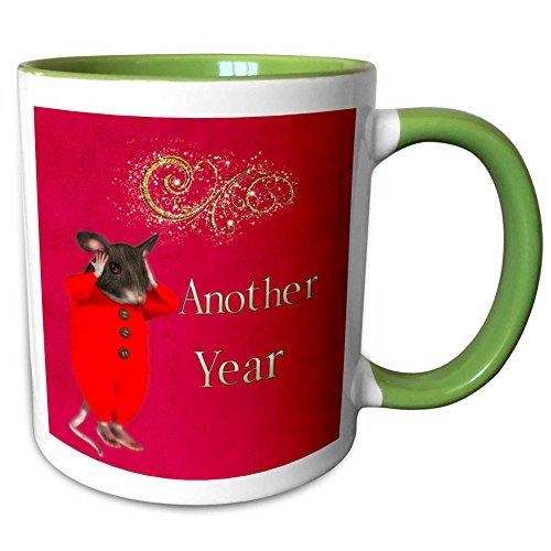 3dRose Spiritual Awakenings-Holidays - Sleepy time mouse and Happy New Year greetings in red - 11oz Two-Tone Green Mug (2 Tone Red Coffee Mug)