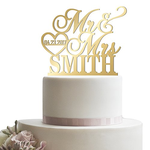 Personalized Wedding Cake Topper Mr Mrs Heart Customized Wedding Date And Last Name To Be Bride & Groom | Mirrored Cake Toppers (Heart Gold Cake)