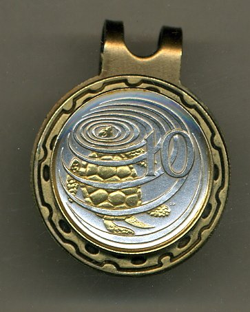 Gorgeous 2-Toned Gold on Silver Cayman Is. Turtle Coin - Golf Ball Marker - Hat (10 Cent Golf Balls)