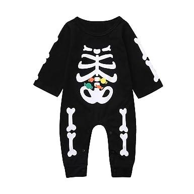 QinMMROPA Bebé recién Nacido niños niñas Halloween Esqueleto ...