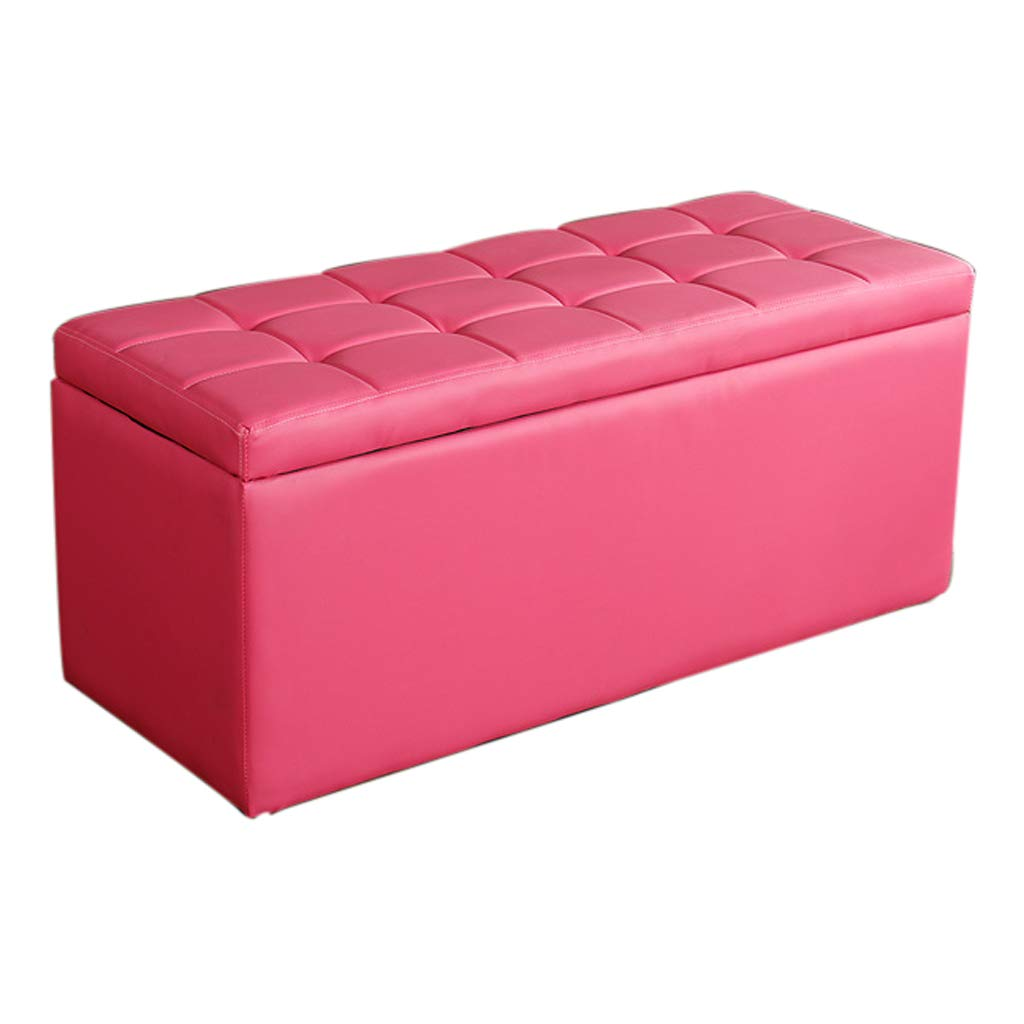 pink L-60CM Storage Stool - Home Multi-Function Long Storage Stool A Variety of colors Can Choose to Sit on The Sofa Leather Bench Long Footstool MENA UK (color   RED, Size   L-60CM)