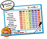 "Dry Erase Reward Chore Chart- 14.5"" x 11"" inches Kids Classroom Home Teaching Resource Teach Children Good Behavior Non Magnetic Vinyl Decal Sticker Child Incentive Teacher Student Tool"