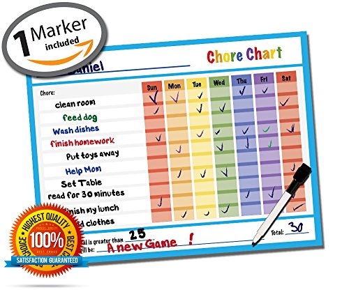 Reward Chart - Responsibility Chart - Chore Chart - Behavior Chart - Dry Erase - Vinyl Decal Sticker - Classroom & Home Teaching Resource - Teaches Accountability - 14.5