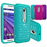Moto G 3rd Gen Case, Moto G (2015) Case, Tauri [Dual Layer] Studded Rhinestone Crystal Bling Hybrid Armor Case For Moto G 3rd Generation 2015 - Mint